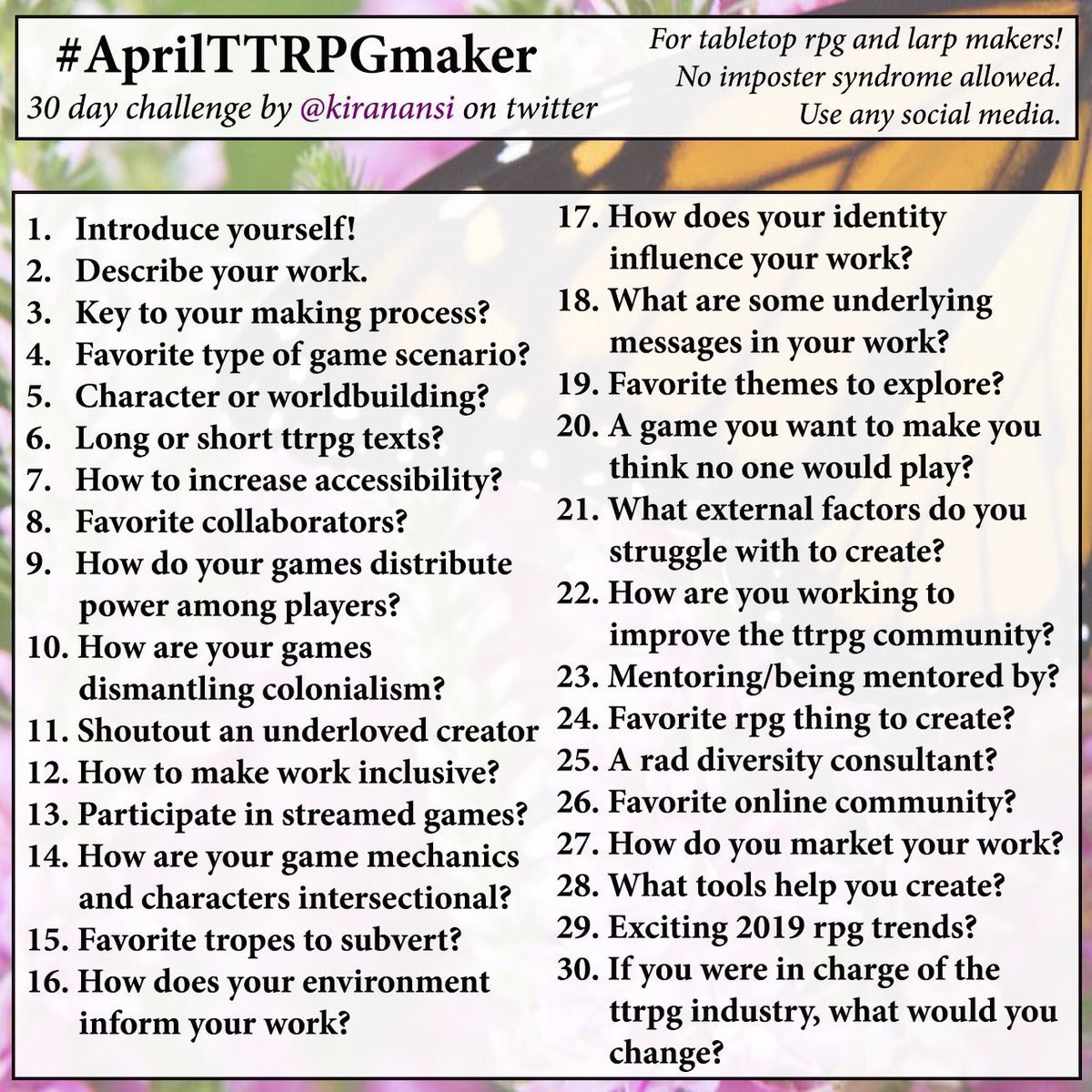 List of the 30 days of questions for #AprilTTRPGmaker